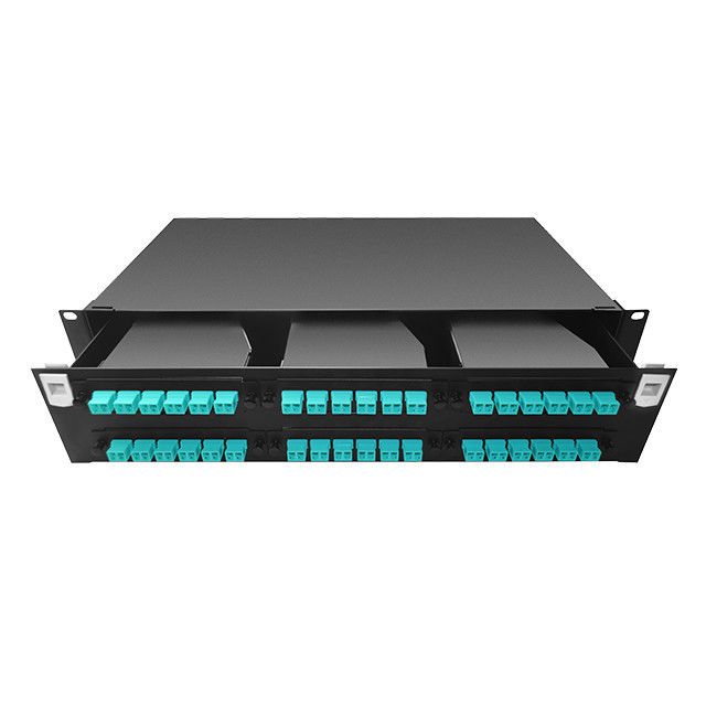 Kepadatan Tinggi 2U 144 Port MPO / MTP Serat Optik Patch Panel Rack Mount RoHS Compliant pemasok